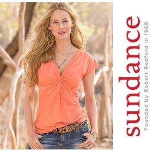 Sundance Peach Orange French Twist Tee Top
